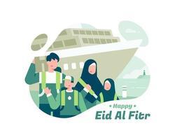 feliz eid al fitr com a família muçulmana na frente do navio