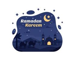 fundo de ramadan kareem com silhueta de camelo e mesquita no deserto