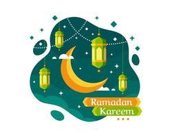 fundo de ramadan kareem com crescente e lanterna vetor