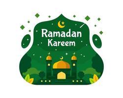 fundo de ramadan kareem com mesquita na cor verde vetor