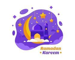 fundo de ramadan kareem com crescente em roxo e dourado vetor