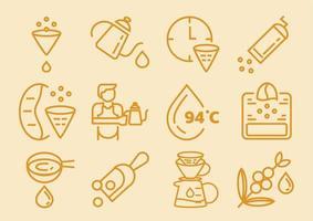 gotejamento café conjunto de ícones com papel de filtro