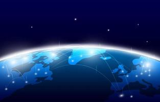 conceito digital de tecnologia e conexão de mapa do mundo vetor