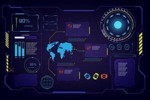 conjunto de elementos de interface futurista da GUI vetor