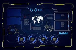 conjunto de interfaces de hud futuro de dados globais vetor