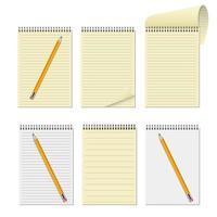 conjunto realista de caderno e lápis vetor