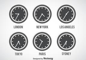 Conjunto de vetores do relógio cinza do fuso horário