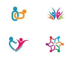 conjunto de logotipo de conexão colorida comunidade vetor