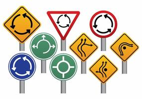 Conjunto de sinais de rotunda vetor