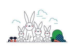 Vector de família de coelho grátis