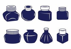 Conjunto de vaso de tinta vetor