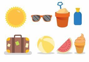 Conjunto de ícones de tema de praia vetor