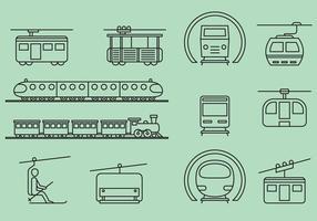 Transportes ferroviários e de cabos vetor