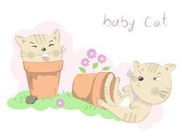dois gatos brincando em vasos de flores vetor
