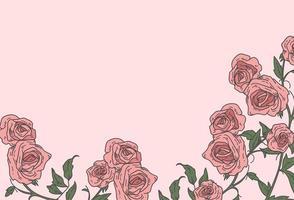 mão desenhada rosas rosa fundo