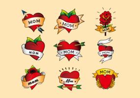 Mamãe tatuagem coração cor vertor pacote vetor
