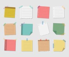 coleção de notas autoadesivas vetor