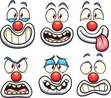 conjunto de rostos de palhaço vetor