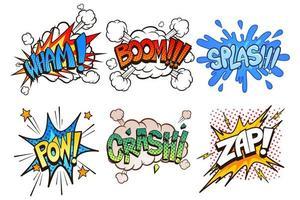 conjunto de efeitos de som em quadrinhos retrô vetor