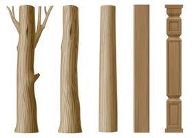 conjunto de pilares de madeira em estilo eco