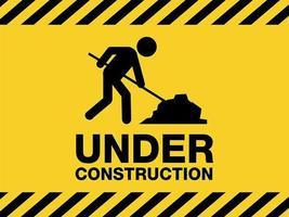 sob sinal de aviso de construção vetor