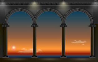 arcos de um palácio com vista para o pôr do sol à noite