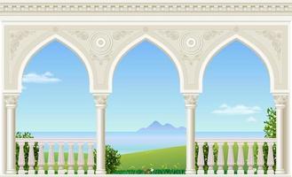 varanda do palácio com vista para a paisagem do mar