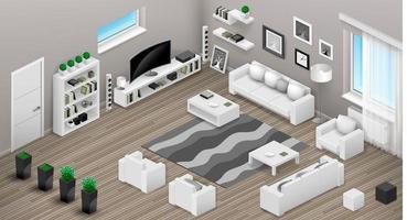 vista isométrica do interior da sala de estar