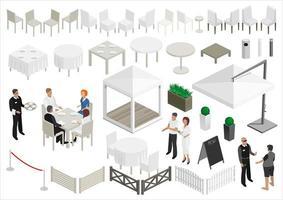 conjunto de pessoas e elementos de restaurante isometria vetor