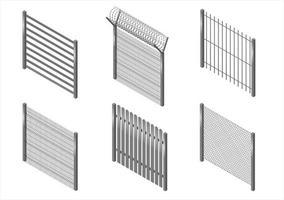conjunto de 6 cercas de metal vetor