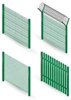 conjunto de cercas de metal verde vetor