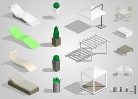 conjunto de mobiliário urbano para parques vetor
