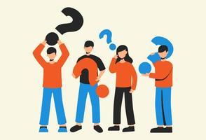 grupo de pessoas segurando ícones de ponto de interrogação