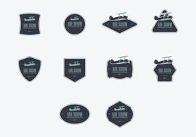 Conjunto de ícones do logotipo do biplano vetor