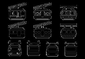 Ícones do vetor do teleférico