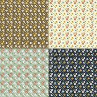 conjunto sem costura retrô pequeno padrão floral vetor