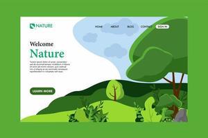 página de destino da natureza vetor