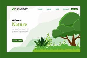 página de landinge de folhagem e árvore verde vetor