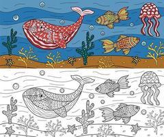 desenho de oceano para colorir vetor