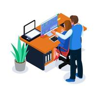 equipe fazendo análise de negócios no espaço de trabalho vetor