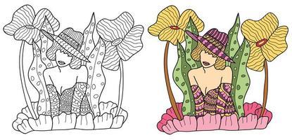 página para colorir de mulher vetor