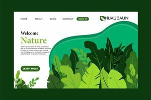 página de destino de folha verde vetor