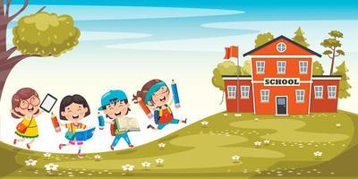 crianças felizes, caminhando em direção à escola vetor
