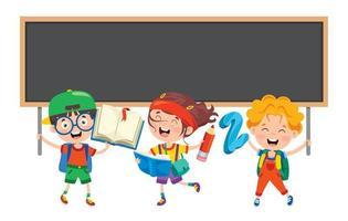 crianças em idade escolar com itens de escola e quadro-negro vetor