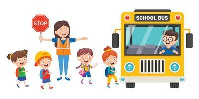 guarda de cruzamento de mulher deixando crianças em idade escolar no ônibus vetor