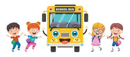 frente de ônibus escolar amarelo e crianças felizes vetor