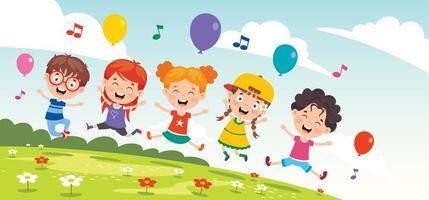 crianças felizes lá fora cantando vetor