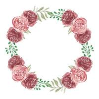 coroa de flores rosa em estilo aquarela vetor