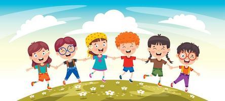amigos de criança feliz se divertindo vetor