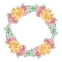 guirlanda floral rosa e amarela em aquarela